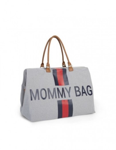 MOMMY BAG BIG CANVASS GREY STRIPES RED/BLUE