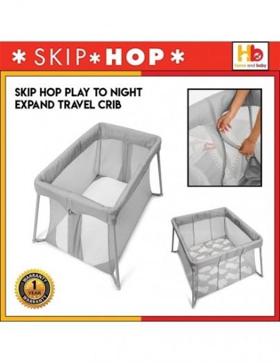 SKIP HOP PLAY TO NIGHT EXPANDING TRAVEL CRIB GREY/ CLOUDS